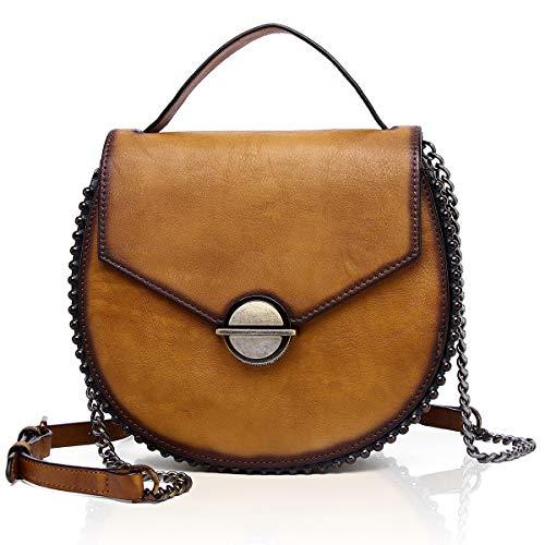 APHISON Damen Umhängetasch Satteltasche Crossbody Kette Messenger Bag Schulter Ledertasche Henkeltasche Elegante Retro Geschenke für Frauen