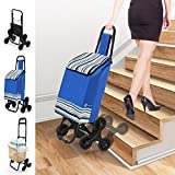 VOUNOT Shopping Trolley on 6 Wheels, Foldable Shopping Cart Trolley, with Stair Climbing and Waterproof Function, Bule, 30L