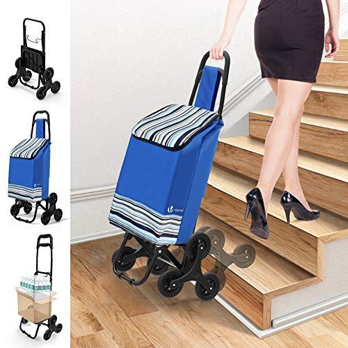 Chariot de Course Chariot marché 6 roues - 3 roues de chaque côté 2 en 1 Poussette marché pliable et diable Caddie panier montant escalier Bleu