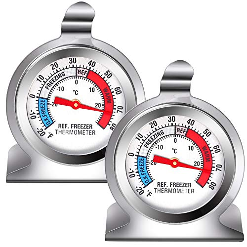 URATOT 2 Pack Refrigerator Freezer Thermometer Classic Series Large Dial Fridge Thermometer Temperature Thermometer with Hanging Hook and Retractable Stand
