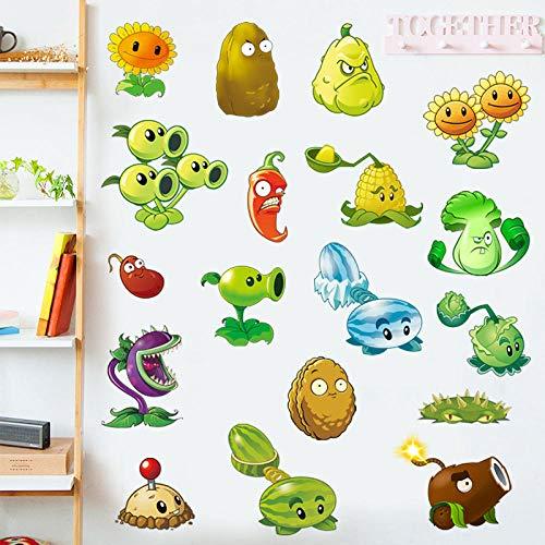 Plantas vs Zombies pegatinas de pared de dibujos animados juego cómics baúl coche pegatina dormitorio extraíble impermeable papel tapiz-50 * 70 CM