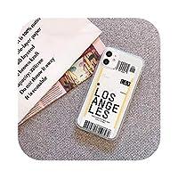 ラグジュアリーニューヨークロサンゼルス航空機搭乗券iPhone12 11 Pro X XS XR MAX 78プラス航空券カバー用クリア電話ケース -Los Angeles-For iphone X
