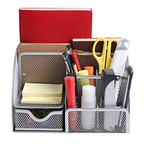 Flashbee Schreibtisch Organizer Büroorganizer Metall Stifthalter 6 Fächern Multifunktions Tisch Organizer Stifteköcher Schreibtisch zubehör Silber