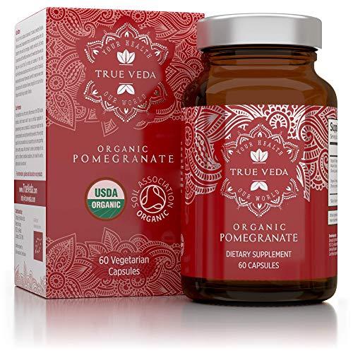 Granaatappel Capsules - Gecertificeerd Biologisch door Soil Association | Vegetarisch & Veganistisch | Ayurveda | 60 Makkelijk door te Slikken Granaatappel Tabletten | Vervaardigd in het VK