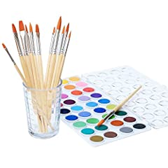 Here you go! Watercolor Cakes and quality Brushes with just 1 click! This set is ideal for artist and crafters, Safe for kids- Non-Toxic! Paint is rich in color and vibrancy. Quality Synthetic Hair Brushes. The best for watercolor painting! 12 Brushe...