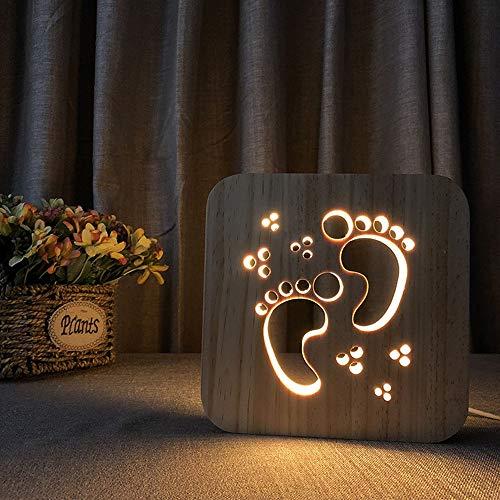 KK Zachary Huella de madera 3D hueco lámpara de mesa decorativa LED luz de noche creativa USB dormitorio de los niños habitación de cumpleaños 19 x 19 cm escritorio
