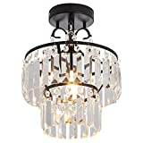 YYJLX Small Crystal Raindrop Chandeliers Semi Flush Mount Ceiling Light Fixture Pendant Lamp for Hallway Bar Kitchen Dining Room Living Room