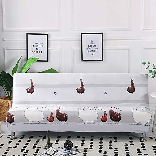 TRDT Sofabezug Ohne Armlehne, elastischer Stoff aus Spandex-Polyester, Bedruckt,Geeignet für Faltbare bettsofas 160-190cm