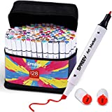128 Colors Alcohol Art Markers Dual Tip Sketch Alcohol Markers for Adults Drawing, Coloring and Illustration, Ideal Gift for Kids, Beginners, BONUS 1 Alcohol Marker Blender