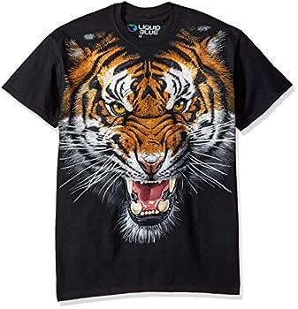 Liquid Blue Men s Tiger Face T-Shirt Black X-Large