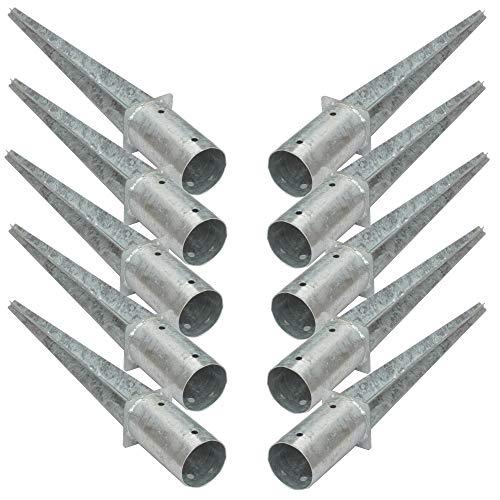 10 Stück 80 mm Rundpfosten-träger Einschlag-hülse Bodenhülse Holz-pfosten Holzzaun Lamellenzaun