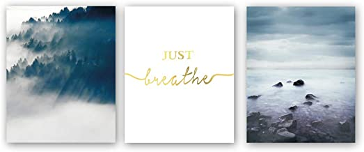 Just Breathe Quote Inspirational Gold Foil Print ,Watercolor Abstract Landscape Art Painting Natural Forest Lake Cardstock Wall Art Poster For Living Room Home Decor (set of 3 , 8'' x 10'' ,Unframed)
