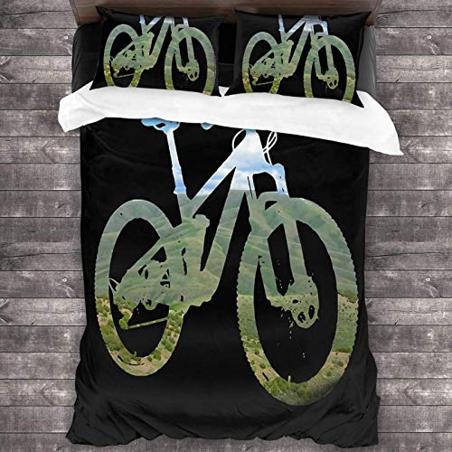 Mountain Bike Mountain and Sky - MTB Collection 3-Piece Bedding Set 86'X70' Super Soft Warm Duvet Cover, Queen Bedding Set with 2 Pillow Cover