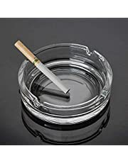 Star Work Ashtray Glass Round Cigar Cigarette Table top Ash Tray Indoor Outdoor Home Decor Set of