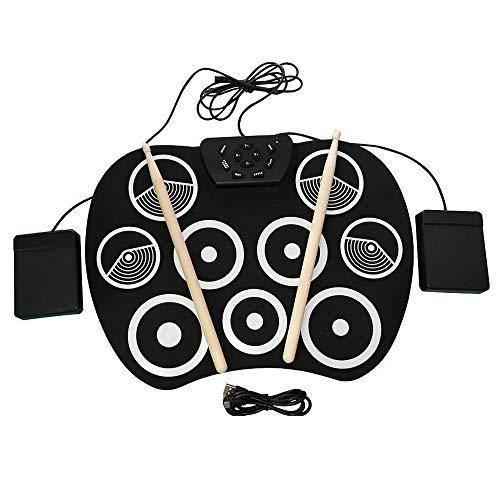 LuYi-Ww Roll-up Electronic Drum Set Midi Drum Kit 9 Silicon Durm Pad con 2 Pedali per Bambini per Bambini Principianti (No Altoparlanti)