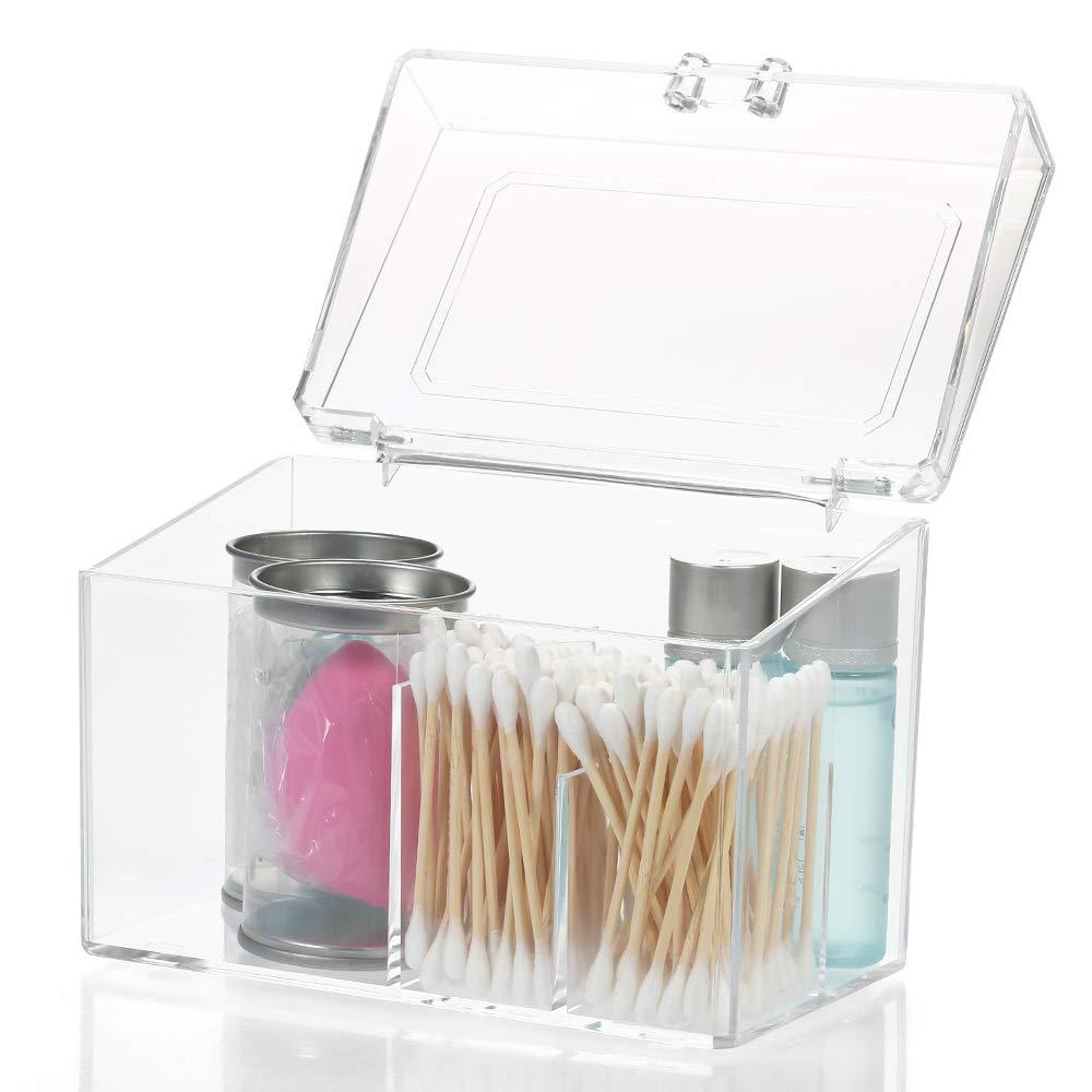 Kshzmoto Almohadillas de algodón Transparente Caja de Almacenamiento Maquillaje de algodón Estuche de Almacenamiento Facial Facial de algodón Organizadores con Tapa Tipo de Caja de Almacenamiento: Amazon.es: Hogar