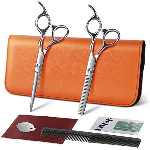 Forbici Parrucchiere Professionali Capelli Barbiere Kit Forbice Per Sfoltire e da Taglio Liscia Acciaio Inox 17.2cm di ELEHOT