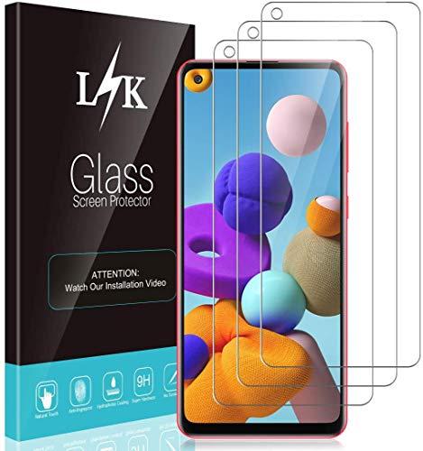 L K 3 Stücke Schutzfolie für Samsung Galaxy A21s, Samsung A21s Panzerglas [9H Härte] [Bubble Free] [Hüllenfreundlich] [Einfache Installation] HD Klar Gehärtetem Glas Displayschutzfolie