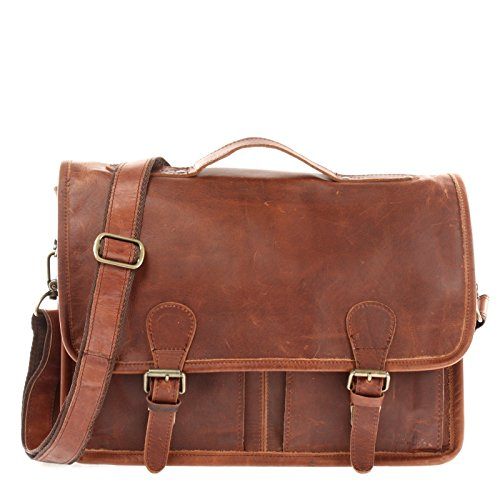 LECONI Aktentasche Businesstasche Messenger Bag für Damen + Herren Ledertasche DIN A4 Vintage-Look Collegetasche Leder 38x28x8cm braun LE3009-wax