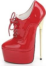 JiaLuoWei Women High Heel Shoes Platform Lace-up Sexy Fetish Nightclub Shoes 22cm Thin Gold Heels