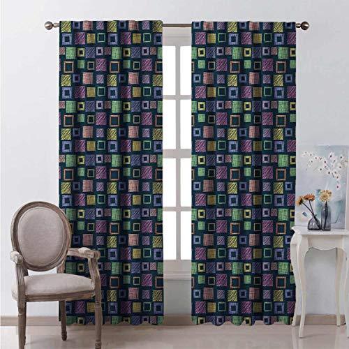 Toopeek - Cortina opaca geométrica con cuadrados dibujados a mano con diferentes patrones de textura, 2 paneles de 63 x 72 pulgadas, multicolor