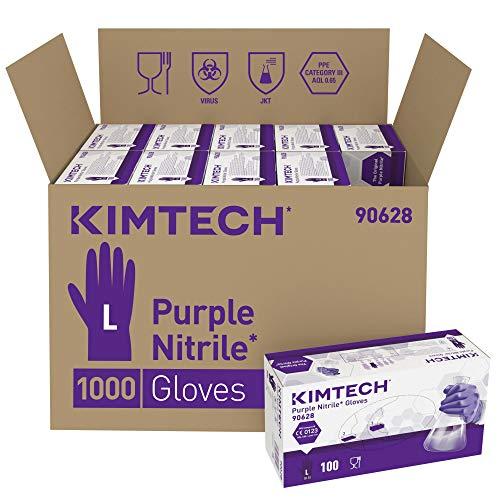 Kimtech Purple Nitrile Schutzhandschuhe, Größe L, Beidseitig tragbar, Violett, 10x100 Stück