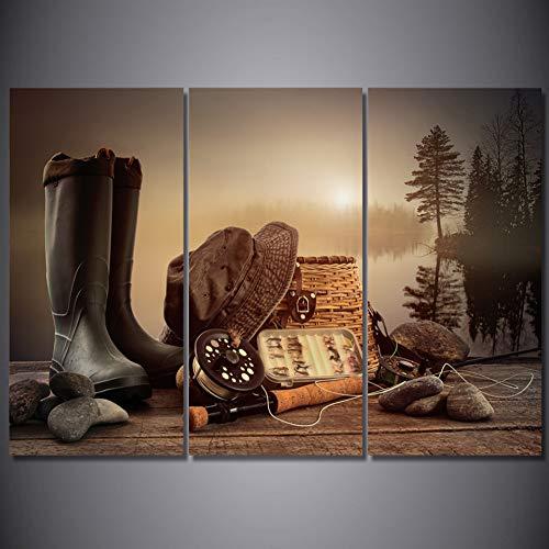 RHBNVR HD-druk canvas schilderij HD Printed Modular Canvas Poster Home muurkunst Decor 3 stuks hengelapparatuur Rod Boots houten plank schilderen