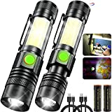 USB Rechargeable Magnetic LED Flashlights with COB Side Light,2Packs 2200mAh 18650 Battery Powered Portable Flashlights,1200 lumens Waterproof Flashlights for Hiking and Security Travel