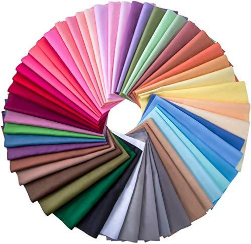 50 pezzi multicolore tessuto patchwork cotone quadrati misti Bundle cucito Quilting Craft, 50 colori (25 x 25 cm)