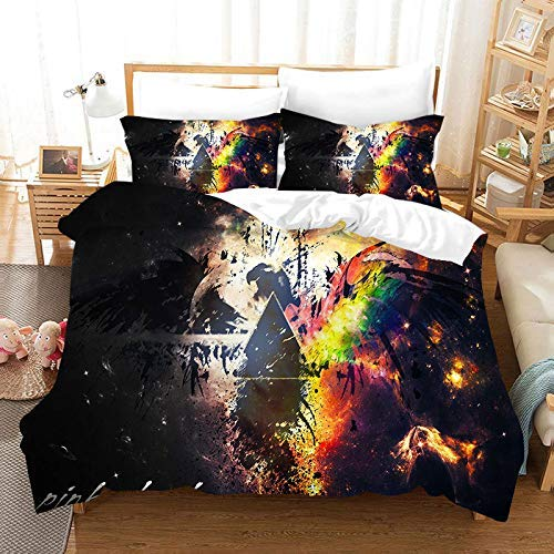 218 ZHENJIL Duvet Cover Sets 3D Pink Floyd Printing Cartoon Bedding Set With Zipper Closure 100% Polyester Gift Duvet Cover 3 Pieces Set With 2 Pillowcases L-US California King104*94'(264x239cm)