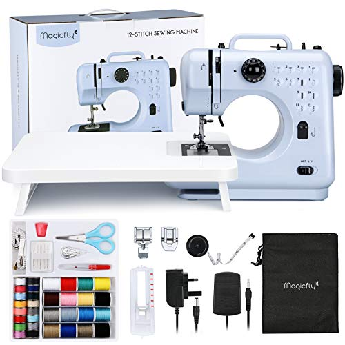 Magicfly Portable Sewing Machines for Beginners, 12 Built-in Stitches Mini Sewing Machine with Reverse Sewing, 3 Replaceable Feet, Extension Table, Electric Sewing Machine for Kids Adults, Blue
