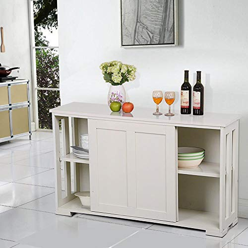 Yaheetech Küchenschrank Küchenmöbel Küche Schrank Regal weiß mit 2 Schiebetüren