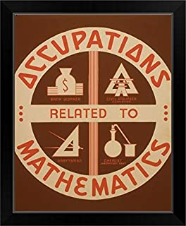 CANVAS ON DEMAND Occupations Related to Mathematics - WPA Poster Black Framed Art Print, 19