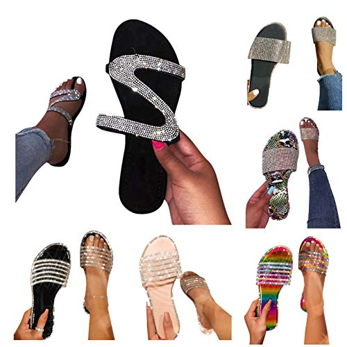 HUYURI Damen Sandalen Sommer Lässige Flache Schuhe Flat Heel Elegant Römersandalen Pantoletten Peep Toe Flip Flop Schuhe Strandsandalen