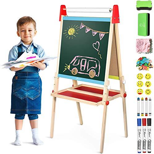 Joyooss Holz Kinder Staffelei mit Papierrolle, Faltbare Doppelseitige Magnetische Whiteboard und Chalkboard, Höhenverstellbare Standtafel 100-119cm