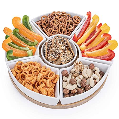 Snacktablett Snack-Teller Serviertablett mit 6 Schalen aus Porzellan und Servierbrett aus Bambus-Holz für Snacks, Salate, Knabereien, Dips, Tapas, uvm. (Snack-Tablett)