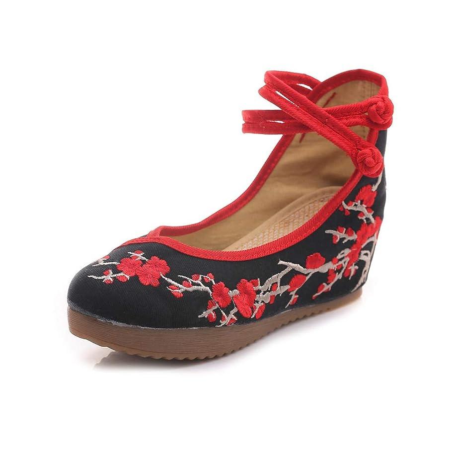 別の膜差キャンバスプラムフラワー刺繍女性中国カジュアルメアリージェーンフラッツプラットフォームウェッジシューズ