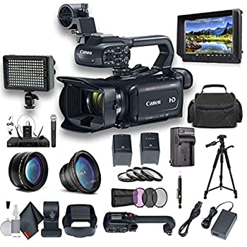 Canon XA11 Compact Full HD Camcorder with HDMI and Composite Output Professional Bundle Includes Extra Battery Case LED Light External Monitor Mic Tripod and More