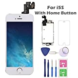 For iPhone 5S Screen Replacement with Home Button, Arotech 4.0 Inch Full Assembly LCD Display Digitizer Touch Screen with Repair Tool Kit and Tempered Glass (5S-White)