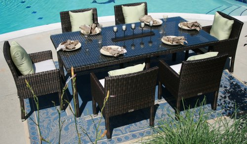 Big Sale The Via Collection 6-Person All Weather Wicker Patio Furniture Dining Set