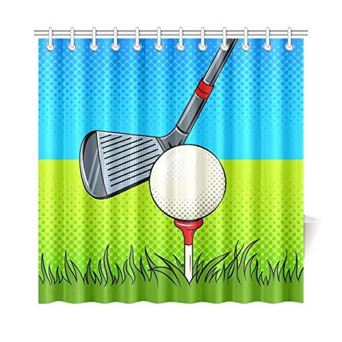 LIANGWE Wohnkultur Bad Vorhang Putter Golfball Pop Art Stil Polyester Stoff Wasserdicht Duschvorhang Für Badezimmer, 72X72 Zoll Duschvorhang Haken Enthalten