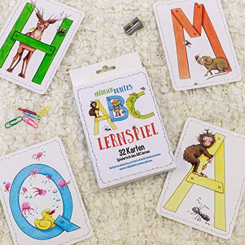illustriertes ABC Lernspiel mit Tieren 32 Karten Set um spielerisch das Alphabet zu lernen Kinder Buchstaben Kartenspiel Skorpion 99sk5123