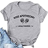 Rose Apothecary T-Shirt Women Funny Cute Letter Graphic Tee Tops Summer Short Sleeve T Shirts Blouse Grey L