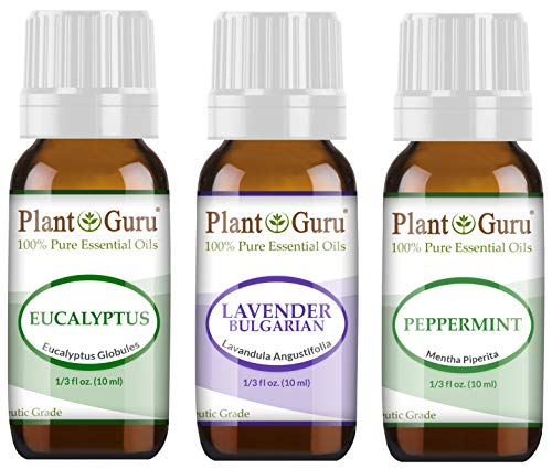 Essential Oil Set Beginner Trio Kit 10 ml 100% Pure Therapeutic Grade Includes: Eucalyptus, Lavender, Peppermint. for Aromatherapy Diffuser Humidifier, Skin and Hair Growth.