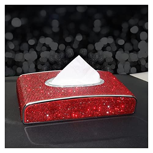 ZHJHUA Rhinestone Caja de Tejido de Cuero Diamante Cristal Auto Titular de Tejido de Lujo Tipo de Bloque Caja de pañuelos Estilo Diamante Funda Bling Mujer (Color Name : Red Box)