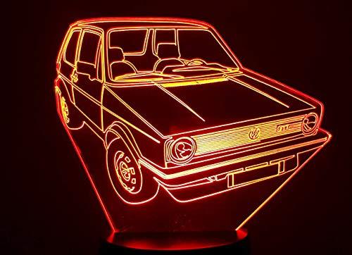 Dibujo compatible VOLSWAGEN GOLF 1 GTI 1.8L, lámpara LED 3D