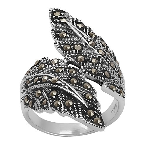 Silver Women's .925 Sterling Silver Oxidized Simulated Marcasite Overlapping Feather Ring
