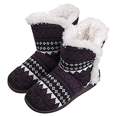 MIXIN Women's Anti Slip Knitted Woolen Striped Faux Fleece Lined Indoor Outdoor Slipper Boots Black 8 M US