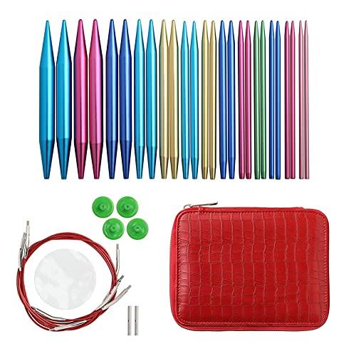 Crocheter Aiguilles à tricoter circulaire Set 26pcs aiguilles de crochet interchangeables pour kit d accessoires à tricoter au crochet pour le cadeau des débutants Durable et facile à transporter