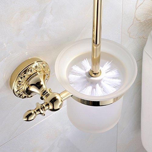 Weare Home Accesorio de baño de pared moderno con acabado Ti-PVD de latón. Material de color dorado. Soporte para escobilla de inodoro y escobilla. Accesorios para cuarto de baño.